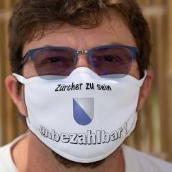 Zürcher zu sein ★ unbezhalbar ! ★ Waschbare Stoffmaske mit dem Wappen des Kantons Zürich