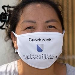 Zürcherin zu sein ★ unbezhalbar ! ★ Waschbare Stoffmaske mit dem Wappen des Kantons Zürich