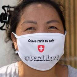 Schweizerin zu sein ★ unbezhalbar ! ★ Waschbare Stoffmaske mit dem Schweizer Wappen
