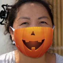 Halloween-Kürbis ★ Zweischichtige Schutzmaske aus Stoff