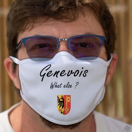 Genevois, What else ? ★ écusson genevois ★ Masque en tissu lavable