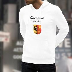 Genevois, What else ? ★ écusson genevois ★ Pull à capuche homme, inspiré de la pub pour une marque de café