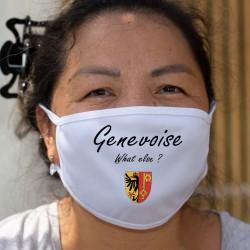 Genevoise, What else ? ★ écusson genevois ★ Masque en tissu lavable, inspiré de la publicité pour une marque de café
