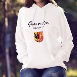 Genevoise, What else ? ★ Stemma di Geneva ★ Donna felpa bianco a cappuccio