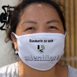 Bündnerin zu sein ★ unbezhalbar ! ★ Waschbare Stoffmaske mit dem Abzeichen des Kantons Graubünden