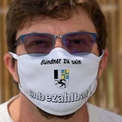 Bündner zu sein ★ unbezhalbar ! ★ Waschbare Stoffmaske mit dem Abzeichen des Kantons Graubünden