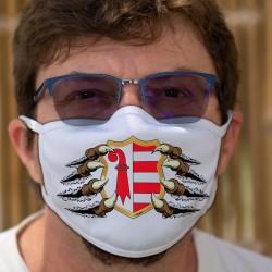Jurassischer Wappen von Krallen gehalten ★ Waschbare Stoffmaske