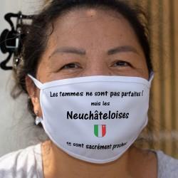 Neuchâteloise, femme parfaite ★ écusson Neuchâtelois ★ Maschera di cotone