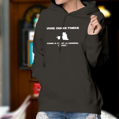 Maglione di cotone con cappuccio - Vivre chaque fondue comme... ★ Yoda ★
