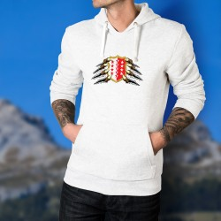 Valais coat of arms held by claws ★ Men white Hoodie
