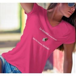 Donna cotone T-Shirt - Le chocolat est mon ennemi ❤ fuir c'est lâche ❤
