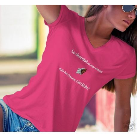 Women's cotton T-Shirt - Le chocolat est mon ennemi ❤ fuir c'est lâche ❤
