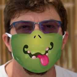 Grünes Monster ★ Humorvolle Maske aus waschbarem zweilagigem Stoff