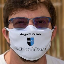 Aargauer zu sein ★ unbezhalbar ! ★ Waschbare Stoffmaske, Kanton Aargau