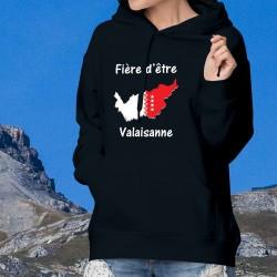 Fière d'être Valaisanne ❤ Pull à capuche coton dame - Frontières aux couleurs du Valais