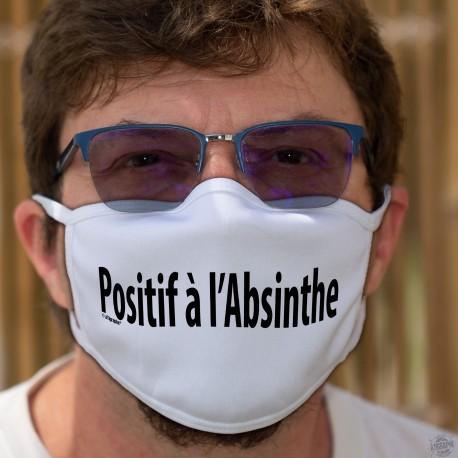 Positif à l'Absinthe ★ Masque humoristique en tissu lavable, sur le thème des campagne de test et de traçage COVID