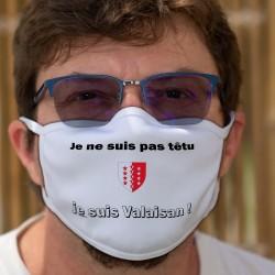 Je ne suis pas têtu ★ je suis Valaisan ★ Masque tissu lavable, écusson du Valais