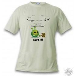 Donna o Uomo funny Alien Smiley T-Shirt - Oups !!!, November White
