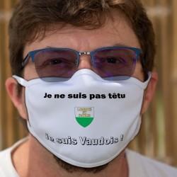 Je ne suis pas têtu ★ je suis Vaudois ★ Masque tissu lavable, écusson du canton de Vaud