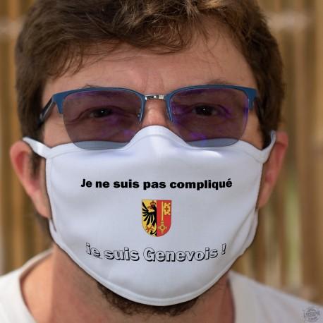 Je ne suis pas compliqué ★ je suis Genevois ★ Masque tissu lavable, écusson du canton de Genève