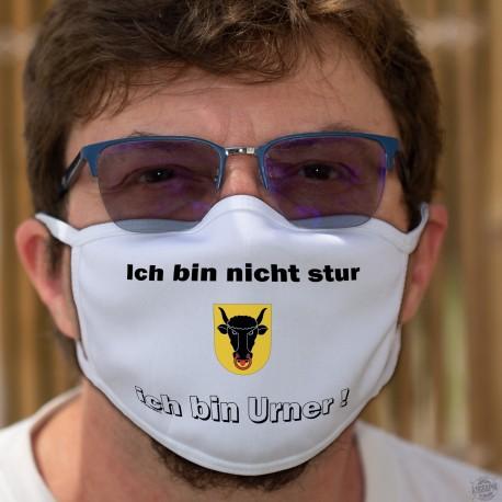 Ich bin nicht stur ★ ich bin Urner ! ★ Schutzmaske aus Stoff, Kanton Uri Wappen