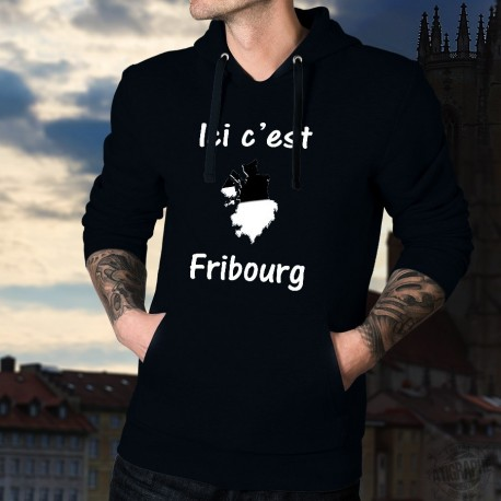 Ici c'est Fribourg ★ Frontières cantonales ★ Pull à capuche coton homme, célèbre slogan des supporters de Fribourg-Gottéron