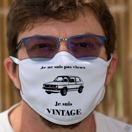 Vintage VW Golf GTI MK1 ★ Masque humoristique en tissu lavable avec la phrase ✪ Je ne suis pas vieux, je suis Vintage ✪