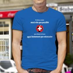 En Suisse on joue aussi vite que possible pour éliminer la France aussi lentement que nécessaire ✚ T-Shirt coton homme Euro foot