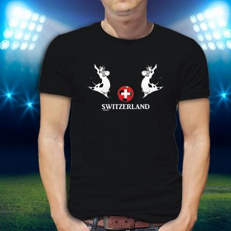 SWITZERLAND ✚ Ballon de foot Suisse et vache Holstein ✚ T-Shirt coton homme, Merci la NATI