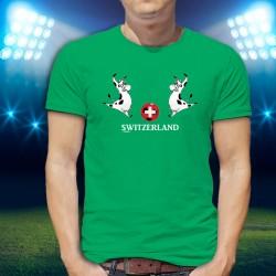 SWITZERLAND ✚ svizzero pallone da calcio e Mucca Holstein ✚ T-shirt in cotone da uomo