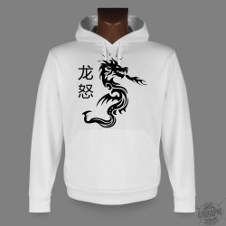 Sweat-shirt blanc à capuche - Dragon Fury - pour femme ou homme