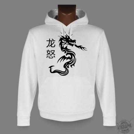 Sweat-shirt blanc à capuche - Dragon Fury - pour femme ou homme