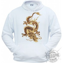 "Sweatshirt blanc à capuche ""Dragon"" by Ferwal"