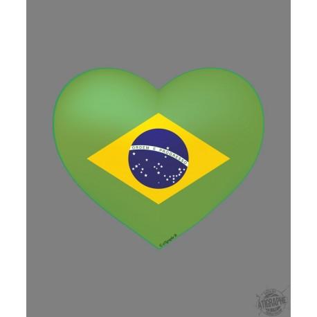 Sticker - Coeur Brésilien - pour voiture