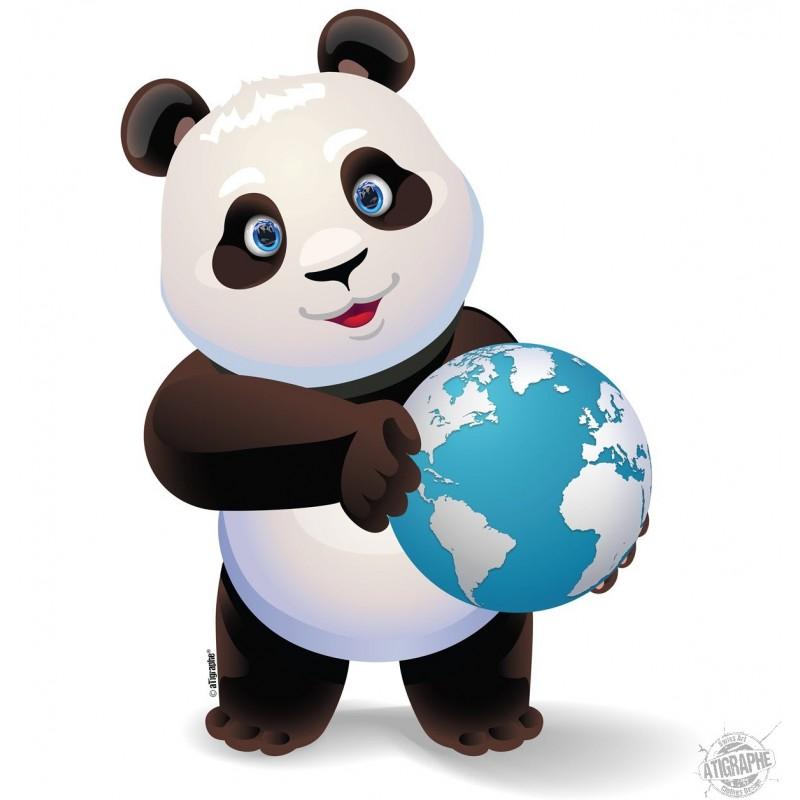 Un bébé panda tenant la planète Terre entre ses pattes, action de don pour le climat