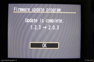 La mise à jour est terminée. il ne reste qu'à valider puis réintroduire la date et l'heure.