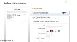 Le formulaire de paiement par carte de crédit de Paypal