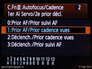Canon EOS 7D, menu Fonctions personnalisées, III Priorité AF