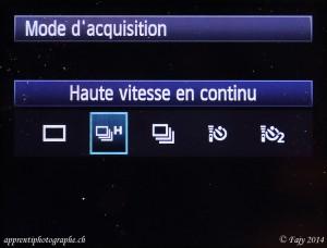 Canon EOS 7D, menu mode acquisition, sélection haute vitesse continu