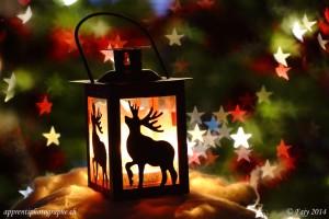 Une lanterne auréolée d'un bokeh en forme d étoiles