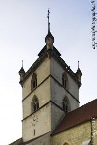 Le clocher de la Collégiale St-Laurent flanqué de ses quatre échauguettes