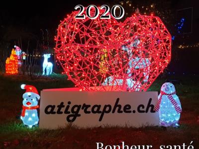 Bonne année 2020 de la part de aTigraphe®, La petite marque suisse de T-shirts et accessoires, depuis 2012.